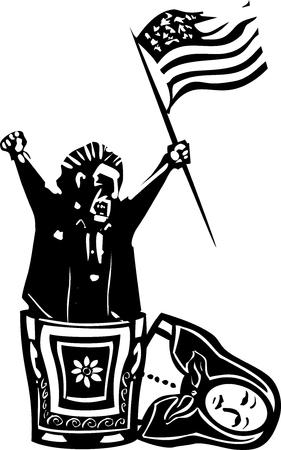 Holzschnitt Stil expressionistischen Bild der Flagge winken wütend Mann aus der russischen verschachtelten Matryoshka Puppe Standard-Bild - 74494969