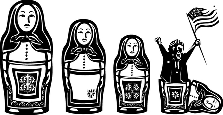 Woodcut style expressionist image of flag waving angry man emerging from Russian nested Matryoshka doll