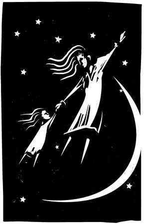 mama e hija: Imagen de estilo de grabado de una madre y su hija están volando en un sueño