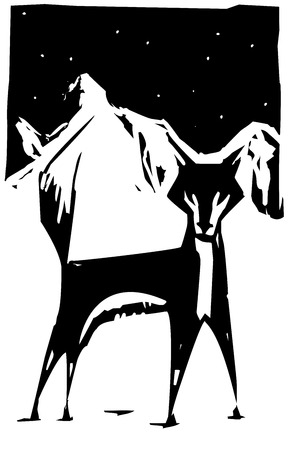 Woodcut style image of a fox in the snow.