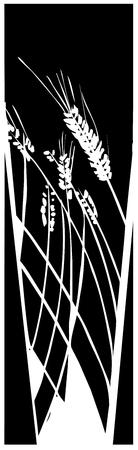 小麦の収穫のための読書の木版画のスタイル イメージ  イラスト・ベクター素材