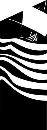Houtsnip stijl afbeelding van een viking schip op zee