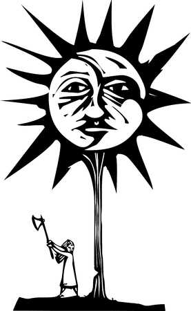 Woodcut style image of a sun and moon face in a tree being chopped down by a girl with an ax