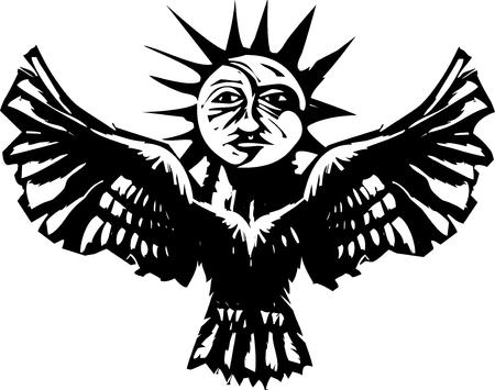Woodcut style image of a sun and moon on an owl Egyptian Ba concept.