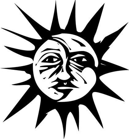 Woodcut style image of a sun and moon face