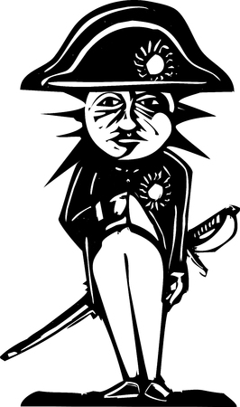 Woodcut style image of a sun and moon face on the body of napoleon Illustration
