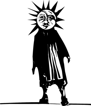 Woodcut style image of a sun and moon face on human figure