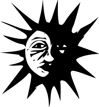 Woodcut style image of the sun in eclipse by the moon. Illustration