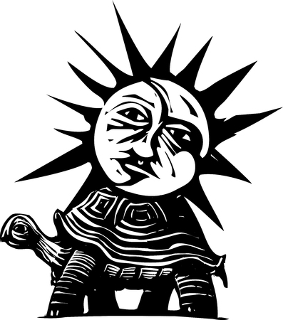 Woodcut style image of a sun and moon face on the back of a turtle Illustration