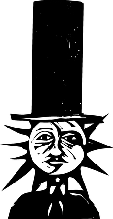 Woodcut style image of a sun and moon face wearing a top hat Ilustração