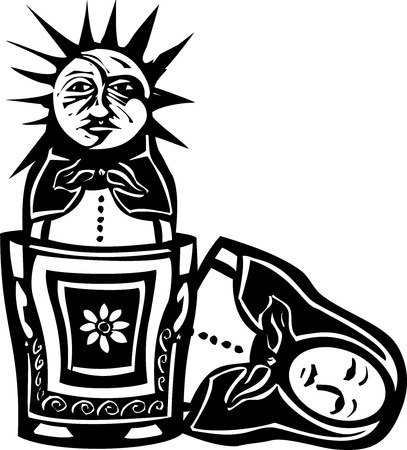 Woodcut style image of a sun and moon face in a Russian nested doll Ilustração