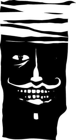 Woodcut expressionist style of a smiling man with his head wrapped in a bandage