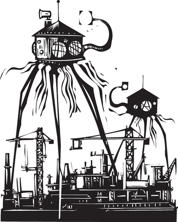 Woodcut style vintage image of a martian tripod over a factory Illustration