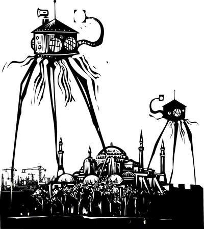 Het uitstekende beeld van de houtdrukstijl van een martian driepoot over Istanboel Turkije