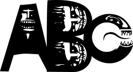 Houtsnede-stijlbeeld van de letters A, B, C met horrorgezichten.