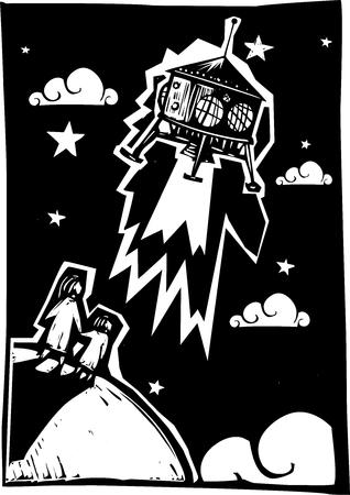 木版画のスタイル着陸または離陸は軌道上でスチーム パンクな宇宙カプセル