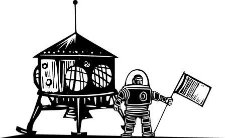 Woodcut style steampunk astronaut with a flag 向量圖像