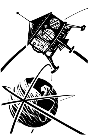Woodcut style Steampunk Space Capsule in Orbit of the earth