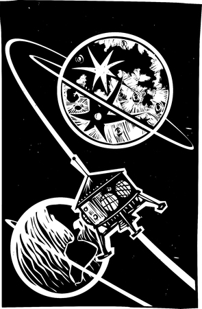 Woodcut style Steampunk Space Capsule in Orbit of the moon and earth