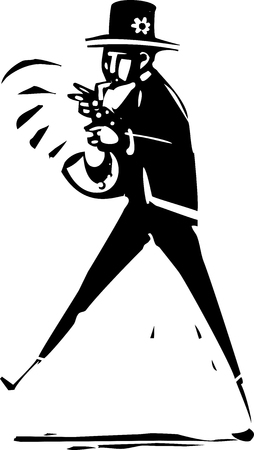 Woodcut expressionist style image of a New Orleans Jazz Musician Illustration