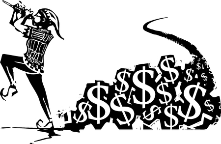 Woodcut expressionist style image of the Pied Piper being followed by money Illustration