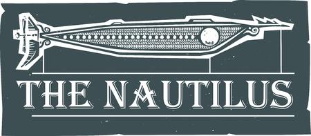 Houtsnijstijl Nautilus Steampunk Onderzeese ontwerp met tekst Stockfoto - 85335877