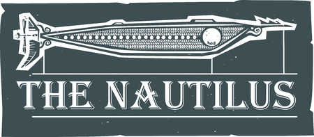Woodcut style Nautilus Steampunk Submarine design with text Illustration