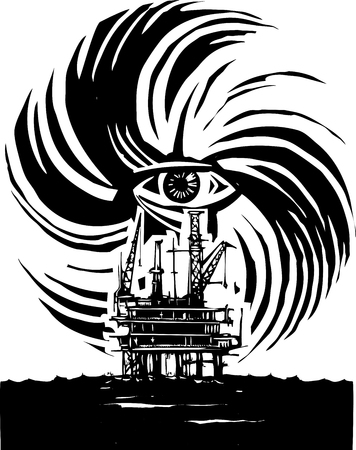 Woodcut style image of human eye in a hurricane storm with an oil rig
