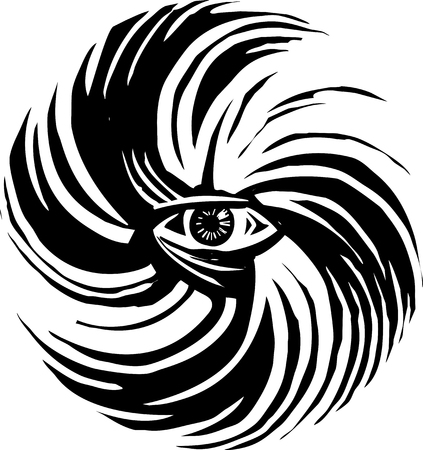 Woodcut style image of human eye in a hurricane storm Illustration