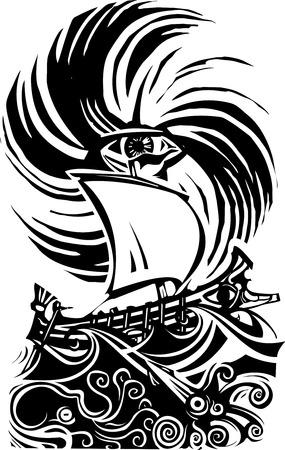 Houtsnip stijl afbeelding van menselijk oog in een storm met een Grieks schip