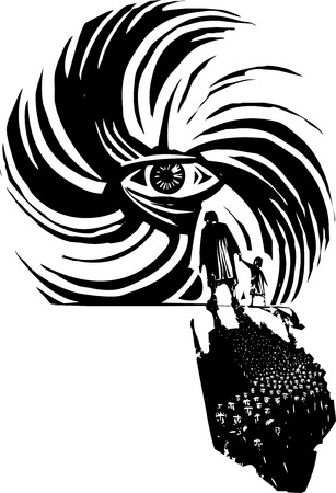 Woodcut style image of human eye in a hurricane storm with refugees Çizim