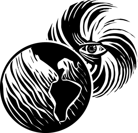 Woodcut style image of human eye in a hurricane storm traveling over the earth.