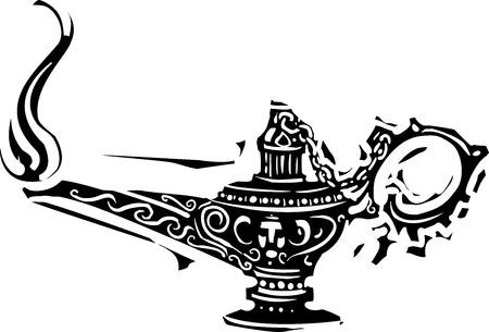 Woodcut image of a burning magic oil lamp.