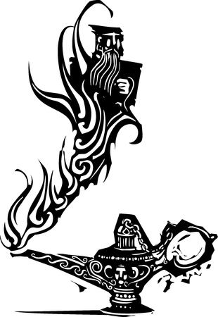 Woodcut expressionistic image of a magic genie or Djinn emerging from an oil lamp
