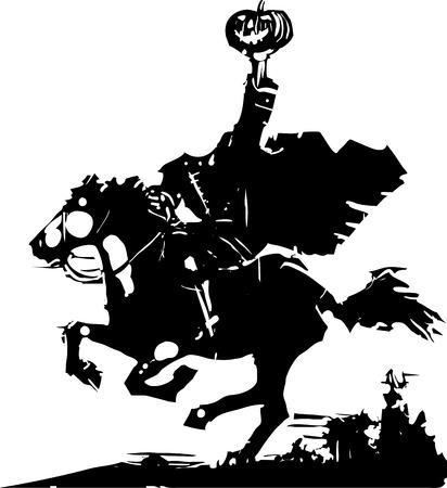 頭のない騎手ゴースト ベクトル図木版画スタイルの表現主義画像。