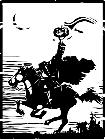 Woodcut style expressionist image of the Headless horseman ghost vector illustration.