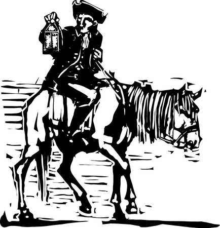 tin: American horseman with tin lamp Illustration