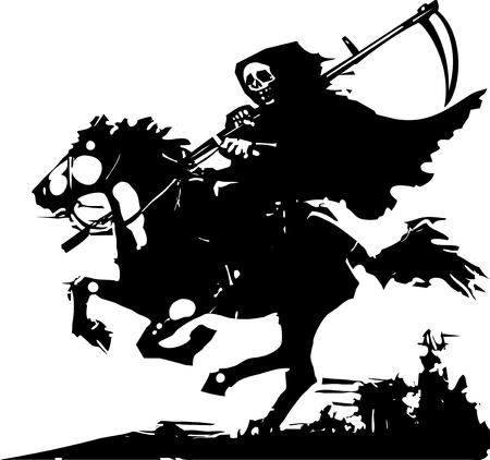 Afbeelding van de dood op een paard Stock Illustratie
