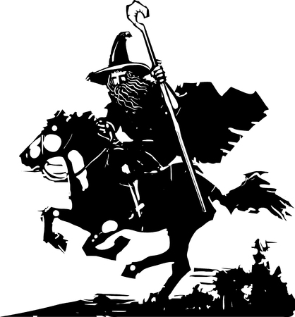 A woodcut style wizard with a staff riding a horse.