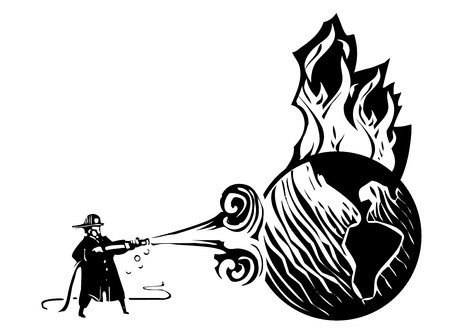 Woodcut Fireman with hose trying to put out the burning earth