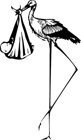 Woodcut style expressionist image of a very tall stork delivering a baby Vectores