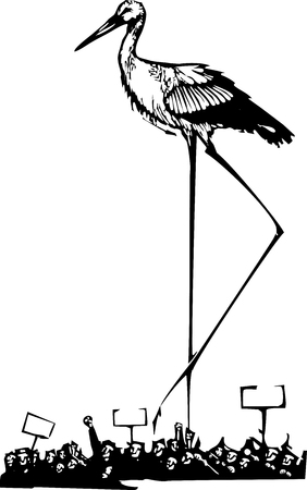 Woodcut style expressionist image of a very tall stork walking through a riot Иллюстрация