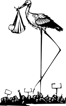 Woodcut style expressionist image of a very tall stork delivering a baby during a protest.