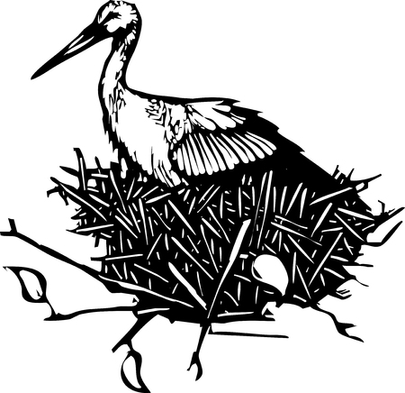 Woodcut style expressionist image of a nesting stork.