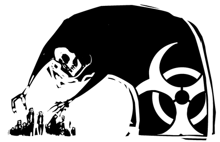 Woodcut style expressionistic image of chemical weapons represented as death reaching for people Illustration