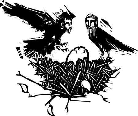 Woodcut style expressionistic crows with the heads of men with a cracking egg in a birds nest