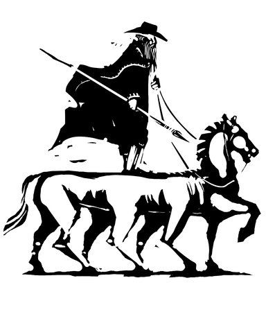 Expressionist woodcut image of the Norse God Odin riding on his horse Sleipnir