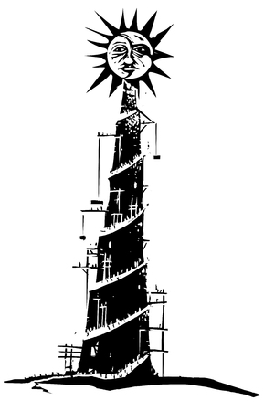 Woodcut style expressionist image on pride with a tower being built to the sun 스톡 콘텐츠 - 121822275
