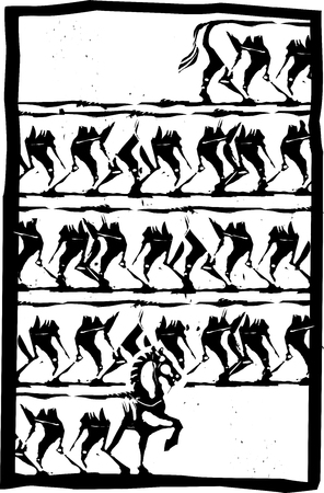 Woodcut style expressionistic image of a horse with many legs walking