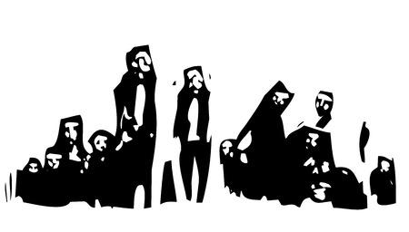 image expressionniste gravure sur bois d'un groupe de migrants réunis en groupe et en attente